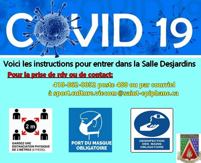 Procédures pour fréquenter la Salle Desjardins (12 ans et +) -  COVID-19 - En vigueur à compter du 18 juillet 2020 (Photo : © DGSTEPH)